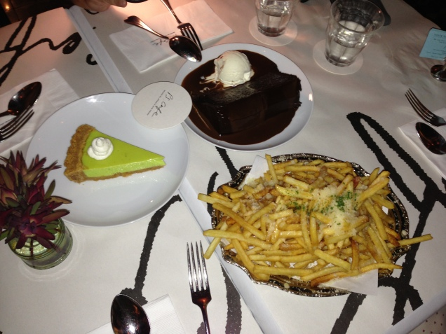 Our supper - Truffle fries, key lime tart and double chocolate cake